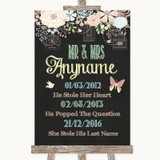 Shabby Chic Chalk Important Special Dates Customised Wedding Sign