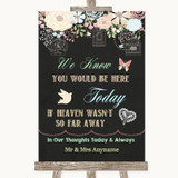 Shabby Chic Chalk Loved Ones In Heaven Customised Wedding Sign
