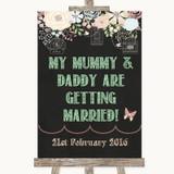 Shabby Chic Chalk Mummy Daddy Getting Married Customised Wedding Sign