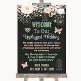 Shabby Chic Chalk No Phone Camera Unplugged Customised Wedding Sign
