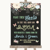 Shabby Chic Chalk Plant Seeds Favours Customised Wedding Sign