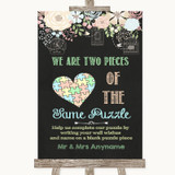 Shabby Chic Chalk Puzzle Piece Guest Book Customised Wedding Sign