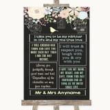 Shabby Chic Chalk Romantic Vows Customised Wedding Sign