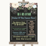 Shabby Chic Chalk Rules Of The Dance Floor Customised Wedding Sign