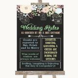 Shabby Chic Chalk Rules Of The Wedding Customised Wedding Sign