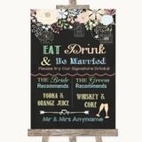 Shabby Chic Chalk Signature Favourite Drinks Customised Wedding Sign