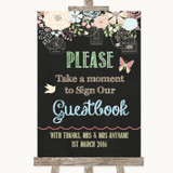 Shabby Chic Chalk Take A Moment To Sign Our Guest Book Customised Wedding Sign