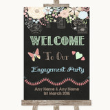 Shabby Chic Chalk Welcome To Our Engagement Party Customised Wedding Sign
