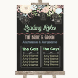 Shabby Chic Chalk Who's Who Leading Roles Customised Wedding Sign