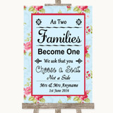 Shabby Chic Floral As Families Become One Seating Plan Customised Wedding Sign