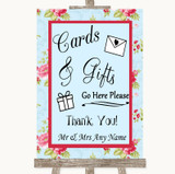 Shabby Chic Floral Cards & Gifts Table Customised Wedding Sign