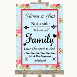 Shabby Chic Floral Choose A Seat We Are All Family Customised Wedding Sign