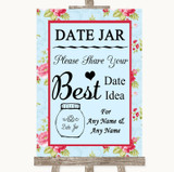 Shabby Chic Floral Date Jar Guestbook Customised Wedding Sign