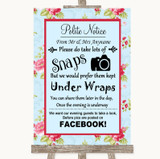 Shabby Chic Floral Don't Post Photos Facebook Customised Wedding Sign