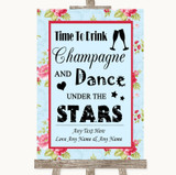Shabby Chic Floral Drink Champagne Dance Stars Customised Wedding Sign