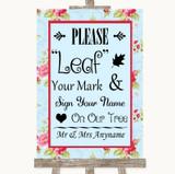 Shabby Chic Floral Fingerprint Tree Instructions Customised Wedding Sign