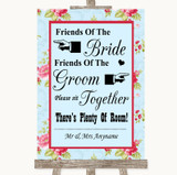 Shabby Chic Floral Friends Of The Bride Groom Seating Customised Wedding Sign