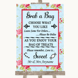 Shabby Chic Floral Grab A Bag Candy Buffet Cart Sweets Customised Wedding Sign