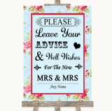 Shabby Chic Floral Guestbook Advice & Wishes Lesbian Customised Wedding Sign