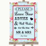 Shabby Chic Floral Guestbook Advice & Wishes Mr & Mrs Customised Wedding Sign