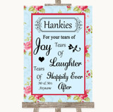 Shabby Chic Floral Hankies And Tissues Customised Wedding Sign