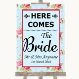 Shabby Chic Floral Here Comes Bride Aisle Sign Customised Wedding Sign