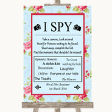 Shabby Chic Floral I Spy Disposable Camera Customised Wedding Sign
