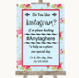 Shabby Chic Floral Instagram Photo Sharing Customised Wedding Sign