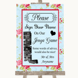 Shabby Chic Floral Jenga Guest Book Customised Wedding Sign
