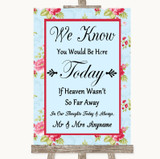Shabby Chic Floral Loved Ones In Heaven Customised Wedding Sign