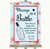 Shabby Chic Floral Message In A Bottle Customised Wedding Sign