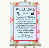 Shabby Chic Floral No Phone Camera Unplugged Customised Wedding Sign