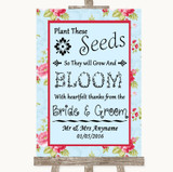 Shabby Chic Floral Plant Seeds Favours Customised Wedding Sign