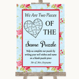 Shabby Chic Floral Puzzle Piece Guest Book Customised Wedding Sign