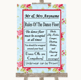 Shabby Chic Floral Rules Of The Dancefloor Customised Wedding Sign