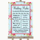 Shabby Chic Floral Rules Of The Wedding Customised Wedding Sign