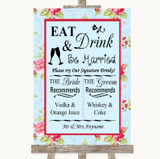 Shabby Chic Floral Signature Favourite Drinks Customised Wedding Sign
