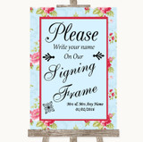Shabby Chic Floral Signing Frame Guestbook Customised Wedding Sign
