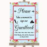 Shabby Chic Floral Take A Moment To Sign Our Guest Book Wedding Sign