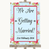 Shabby Chic Floral We Are Getting Married Customised Wedding Sign