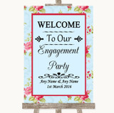 Shabby Chic Floral Welcome To Our Engagement Party Customised Wedding Sign