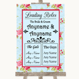Shabby Chic Floral Who's Who Leading Roles Customised Wedding Sign