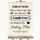 Shabby Chic Ivory All Family No Seating Plan Customised Wedding Sign
