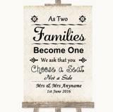 Shabby Chic Ivory As Families Become One Seating Plan Customised Wedding Sign