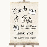 Shabby Chic Ivory Cards & Gifts Table Customised Wedding Sign
