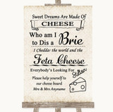 Shabby Chic Ivory Cheese Board Song Customised Wedding Sign