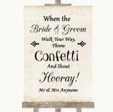 Shabby Chic Ivory Confetti Customised Wedding Sign