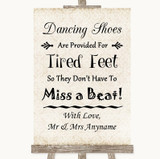 Shabby Chic Ivory Dancing Shoes Flip-Flop Tired Feet Customised Wedding Sign