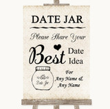 Shabby Chic Ivory Date Jar Guestbook Customised Wedding Sign
