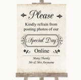 Shabby Chic Ivory Don't Post Photos Online Social Media Wedding Sign